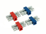 2 red & 2 Blue square Distribution Blocks 1-1/8 npt Inlet into 4 outlet w/fittings