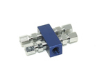 "1 distribution block square BLUE Anodized 1-1/8"" npt inlet into 4 outlets w/fittings"